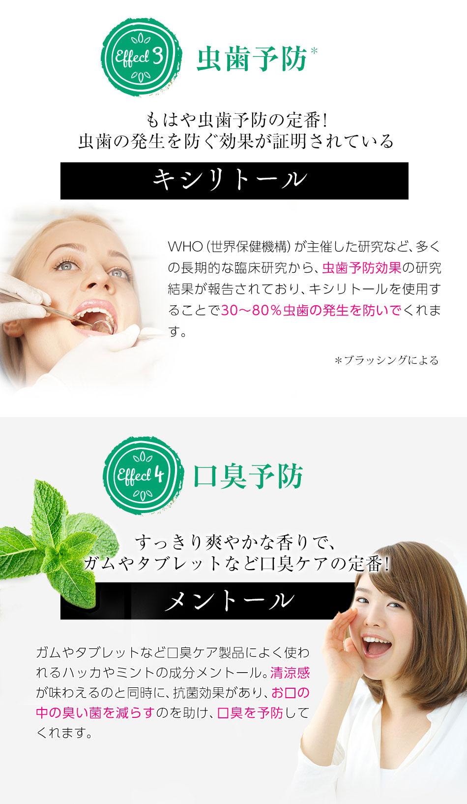 ③虫歯予防!キシリトール!④口臭予防!すっきり爽やかな香りで、ガムやタブレットなど口臭ケアの定番!メントール
