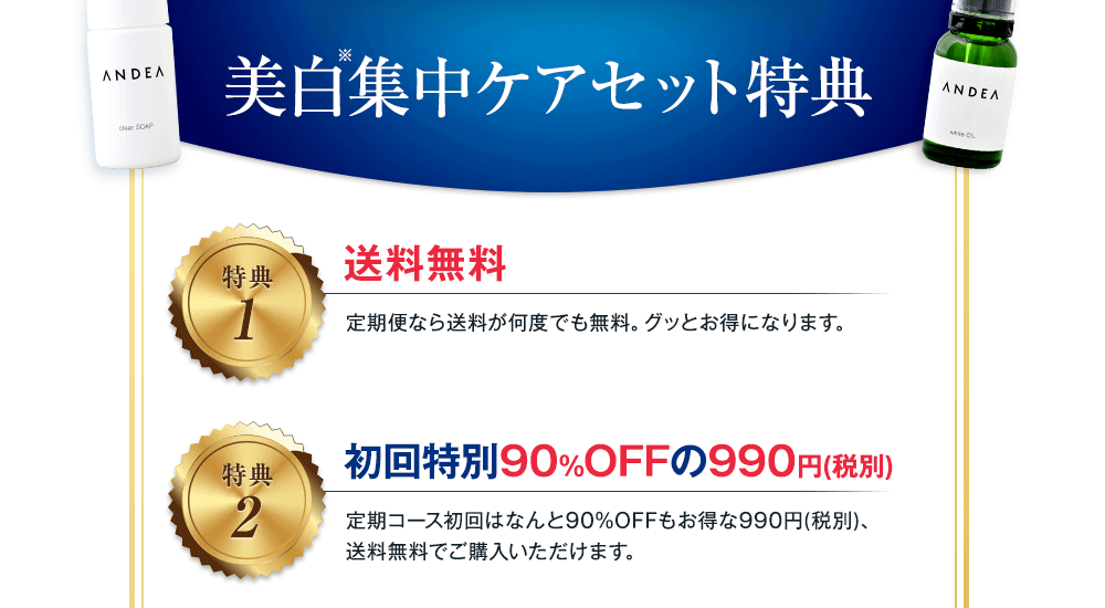 美白集中ケアセット特典 送料無料 初回特別90%OFFの990円(税別)
