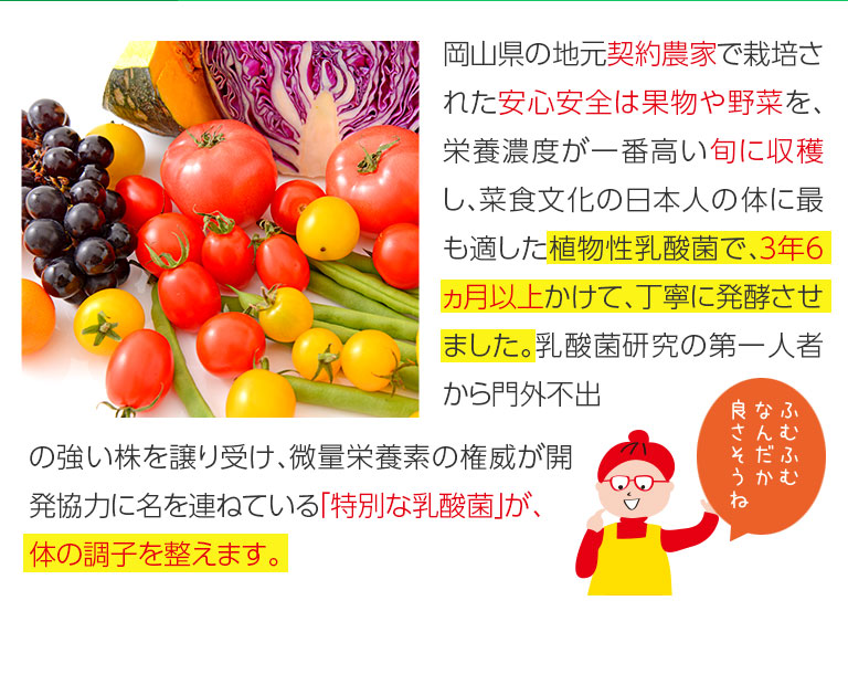 岡山県の地元契約農家で栽培された安心安全な果物や野菜を、栄養濃度が一番高い旬に収穫し、菜食文化の日本人の体に最もと適した植物性乳酸菌で、3年3ヶ月以上かけて、丁寧に発行させました。