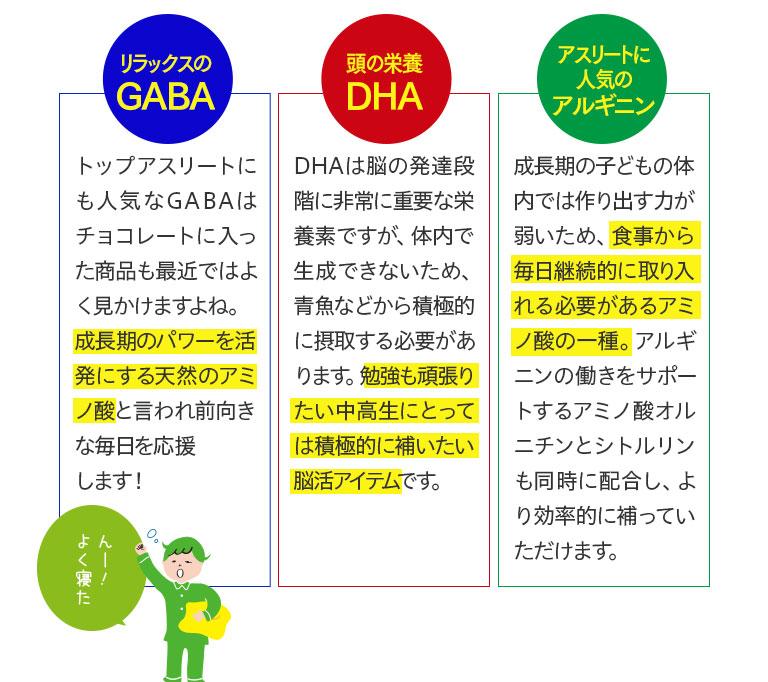 リラックスのGABA頭の栄養DHAアスリートに人気のアルギニン