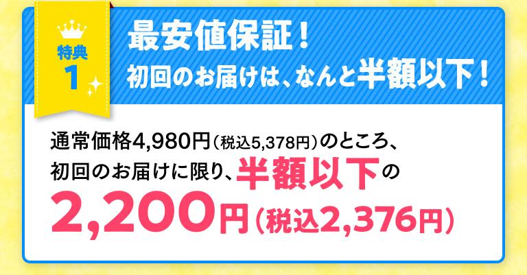 特典1最安値保証!初回のお届けは、なんと半額以下!通常価格4,980円のところ、初回のお届けに限り、半額以下の2,200円(税抜)でお届けします。
