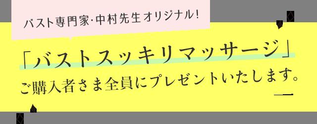 バスト専門家・中村先生オリジナル!「バストを小さくするマッサージ」ご購入者さま全員にプレゼントいたします。