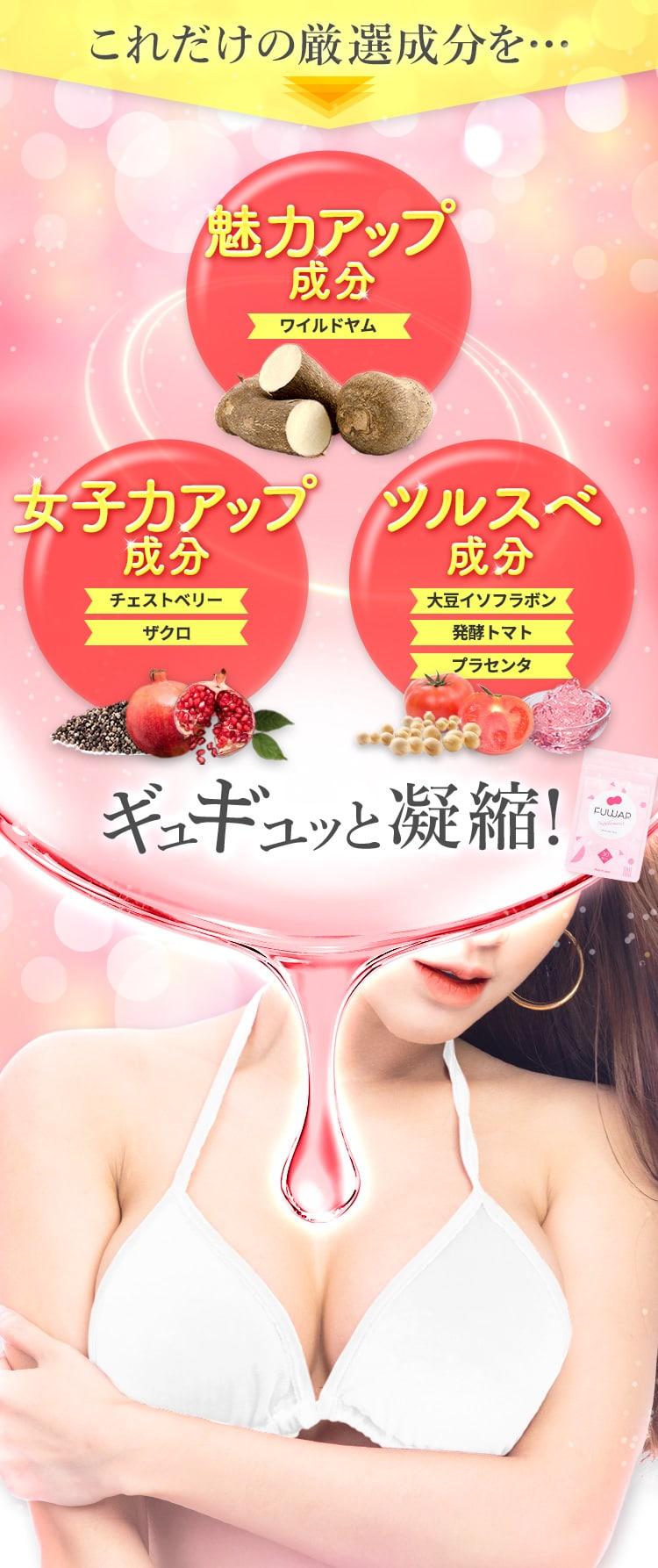 これだけの厳選「魅力アップ:ワイルドヤム・女子力アップ:チェストベリーとザクロ、ツルスベ成分:イソフラボン・発酵トマト・プラセンタ」成分をギュギュッと凝縮!
