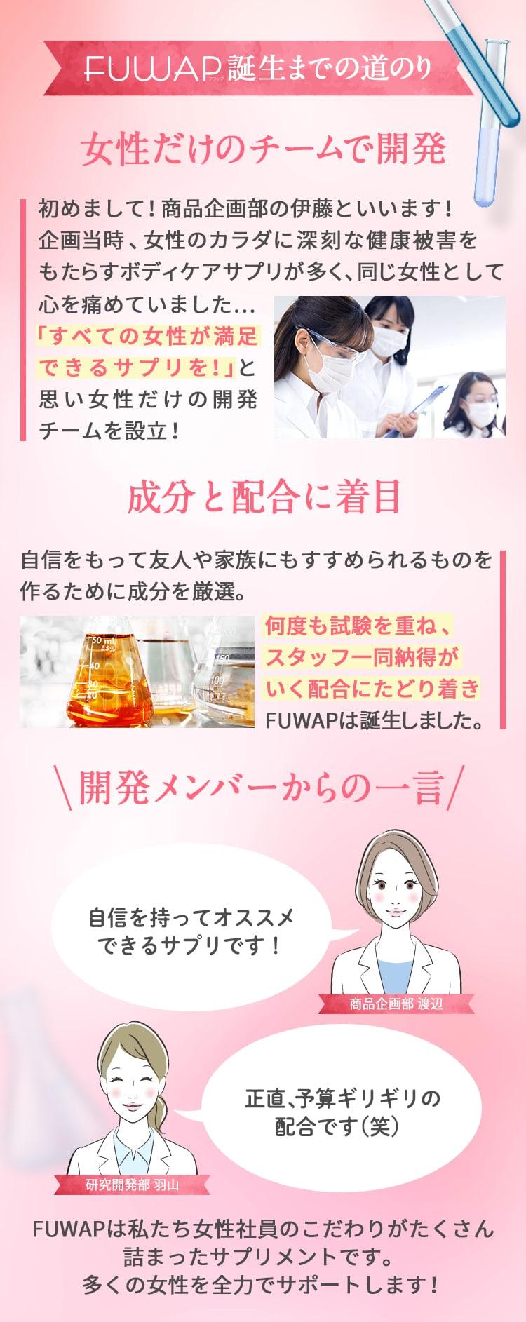 〈FUWAP〉誕生までの道のり「女性だけのチーム」「成分と配合」「開発メンバーのこだわり」