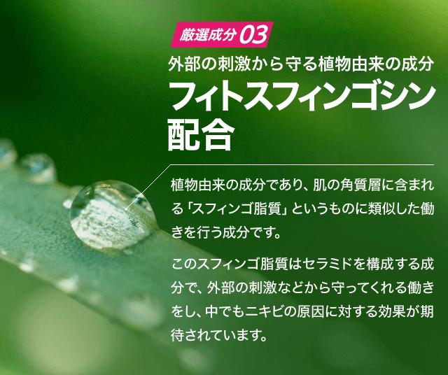 (厳選成分3)外部の刺激から守る植物由来の成分 フィトスフィンゴシン配合