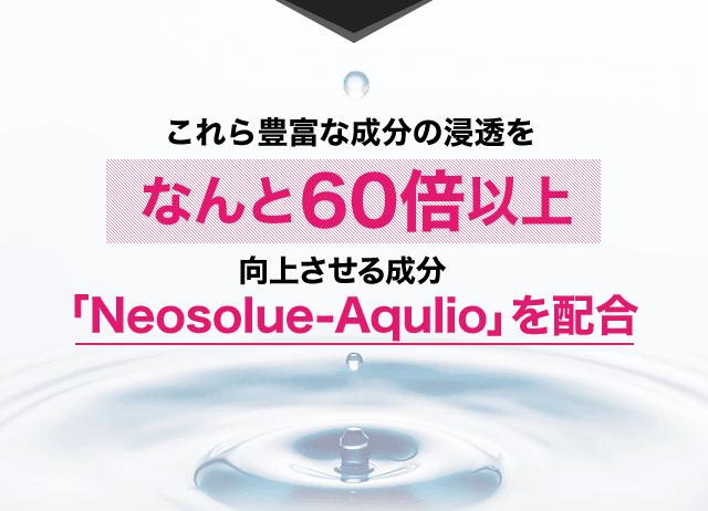 これら豊富な成分の浸透をなんと60倍以上向上させる成分「Neosolue-Aqulio」を配合