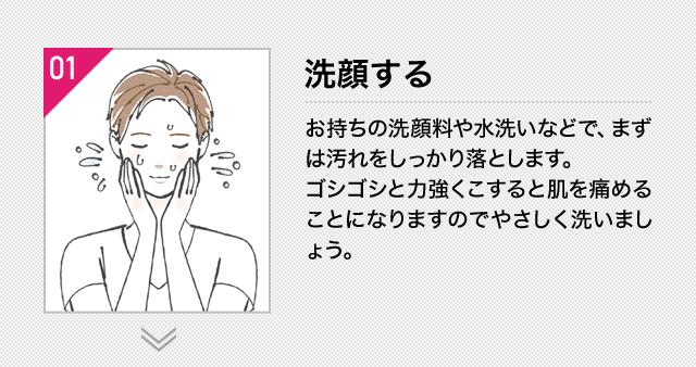 (1)洗顔する