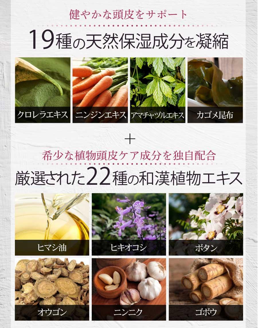 19種の天然保湿成分、22種の和漢植物エキス