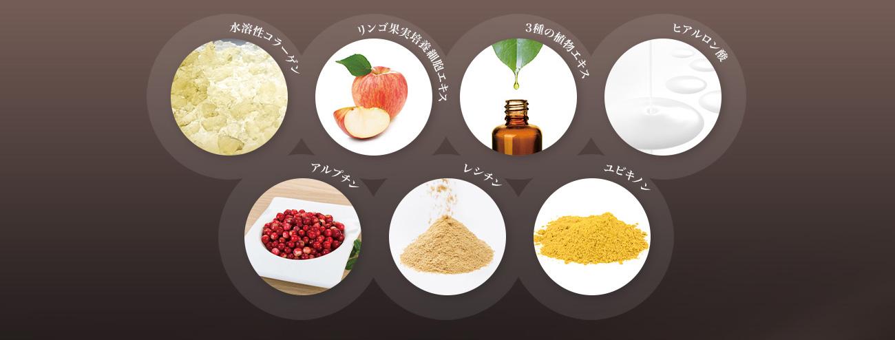 水溶性コラーゲン リンゴ果実培養細胞エキス 3種の植物性エキス ヒアルロン酸 アルプチン レシチン ユビキノン