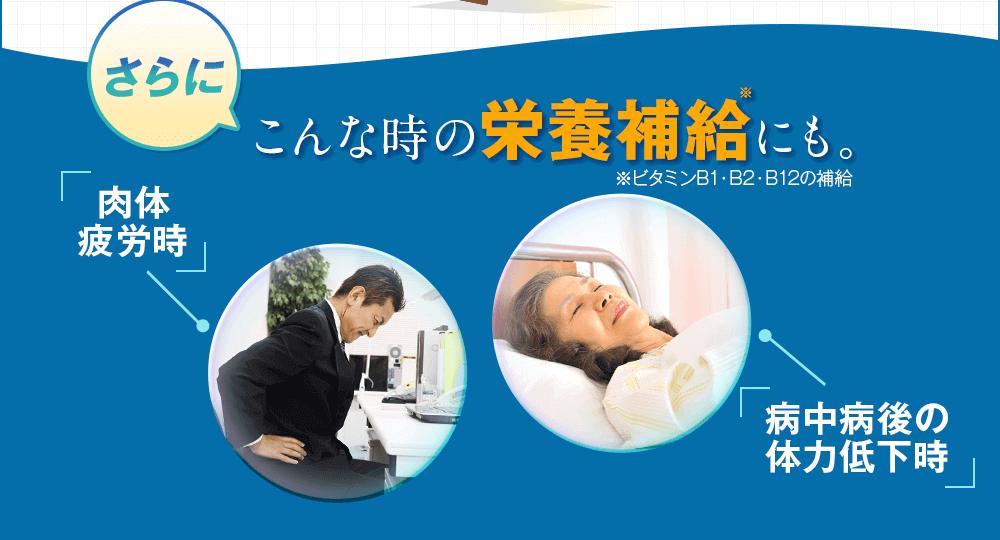 さらに肉体疲労時、病中病後の体力低下時の栄養補給にも
