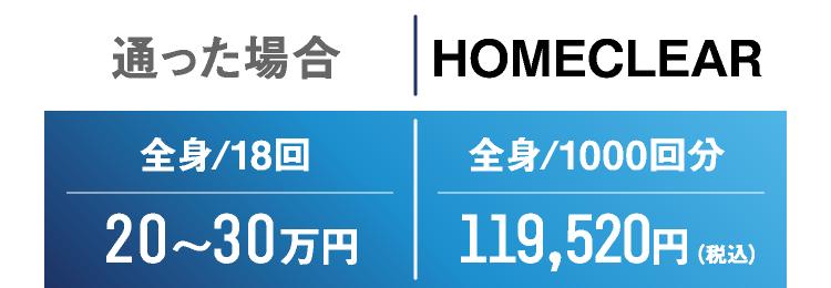 通った場合 全身/18回 全身/18回 HOMECLEAR 全身/1000回分  119,520円(税込)