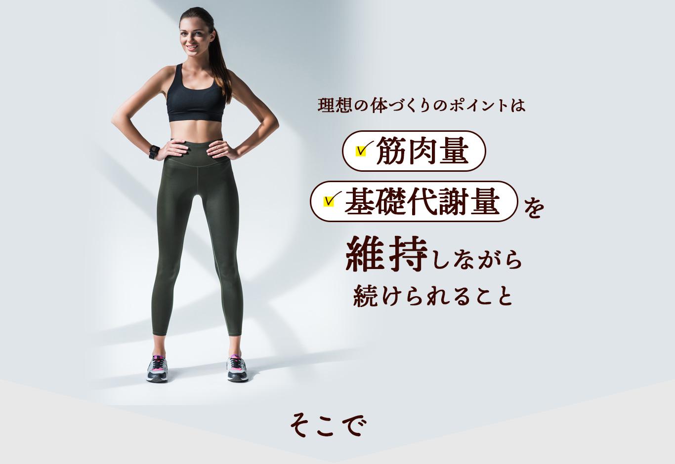 Caffetein 理想の体づくりのポイントは筋肉量、基礎代謝量を維持しながら続けられること