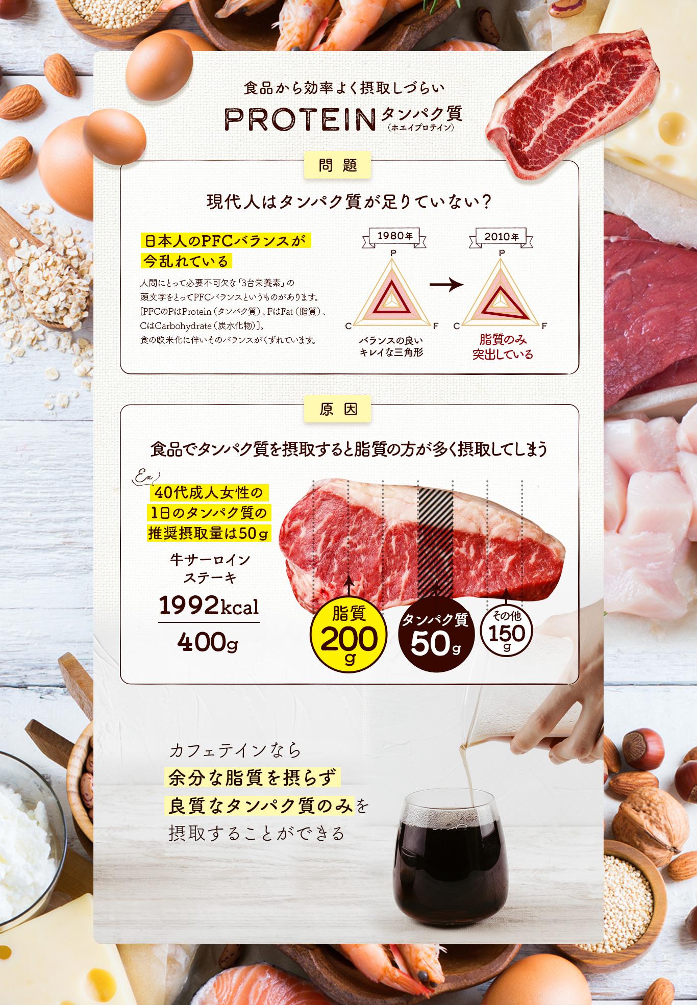 Caffetein 食品から効率よく摂取しづらいタンパク質