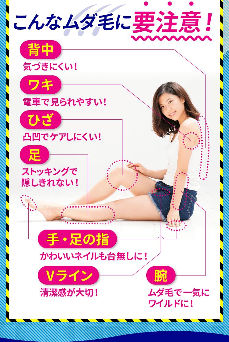 こんなムダ毛に要注意!気づきにくい背中。電車で見られやすい脇。凸凹でケアしにくい膝。ストッキングで隠しきれない足。かわいいネイルも台無しになる手と足の指。清潔感が大切なVライン。ムダ毛で一気にワイルドになる腕。