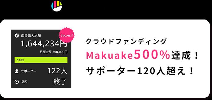 Makuakeで話題!クラウドファンディングMakuake500%達成!サポーター120人超え!