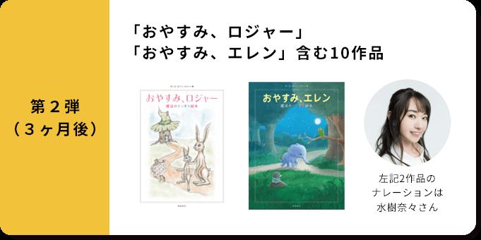 第2弾(3ヶ月後)「おやすみ、ロジャー」「おやすみ、エレン」含む10作品左記2作品のナレーションは水樹奈々さん