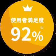使用者満足度92%
