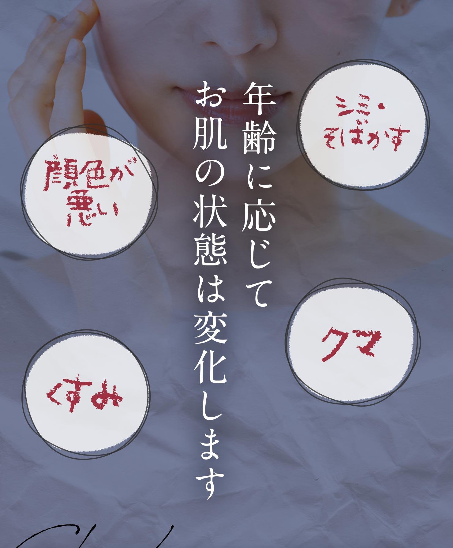 [シミ・そばかす][クマ][顔色が悪い][くすみ]年齢に応じてお肌の状態は変化します