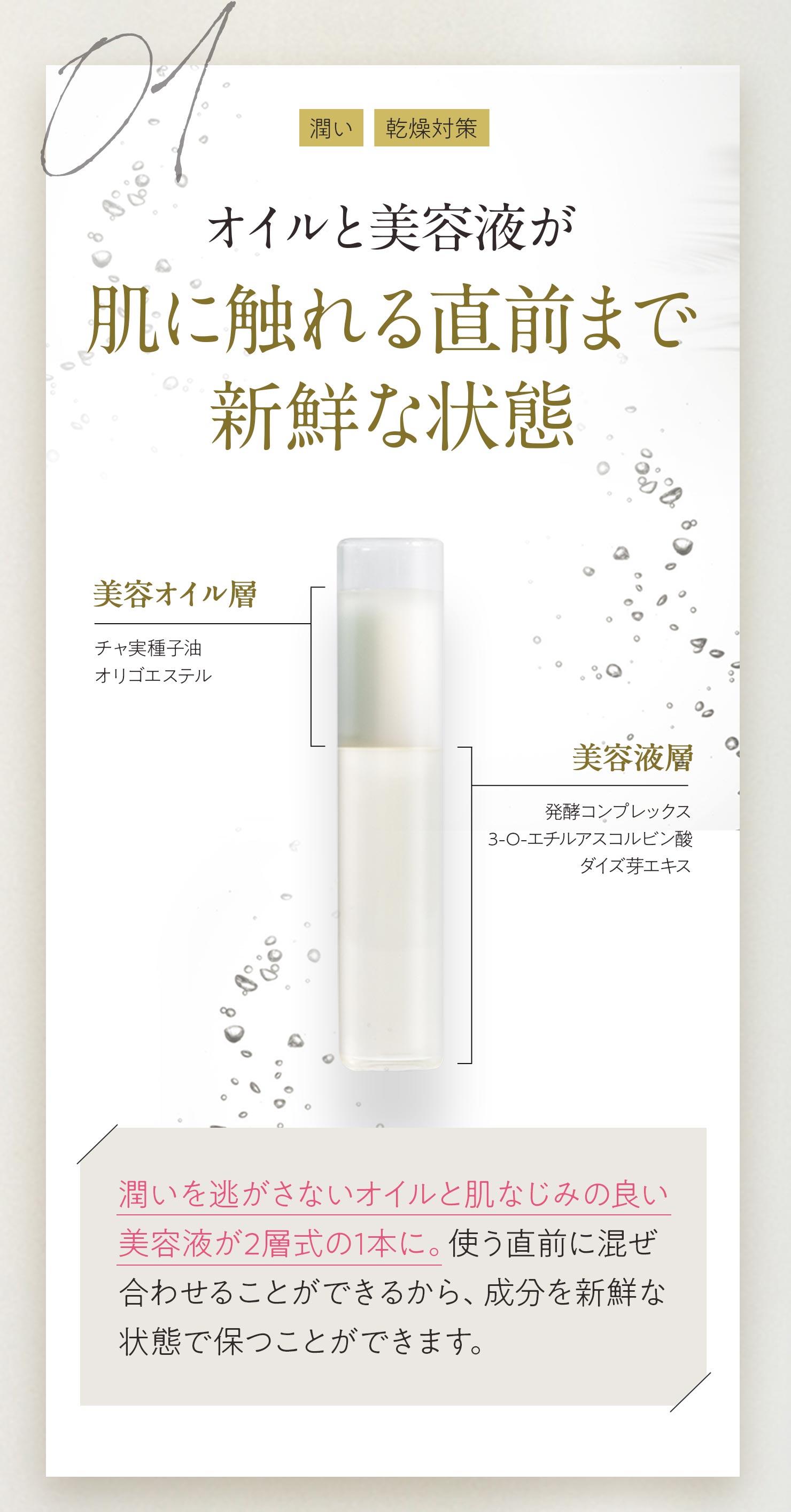 01[潤い][乾燥対策]オイルと美容液が肌に触れる直前まで新鮮な状態 美容オイル層|チャ実種子油オリゴエステル 美容液層|発酵コンプレックス3-O-エチルアスコルビン酸ダイズ芽エキス 潤いを逃がさないオイルと肌なじみの良い美容液が2層式の1本に。使う直前に混ぜ合わせることができるから、成分を新鮮な状態で保つことができます。