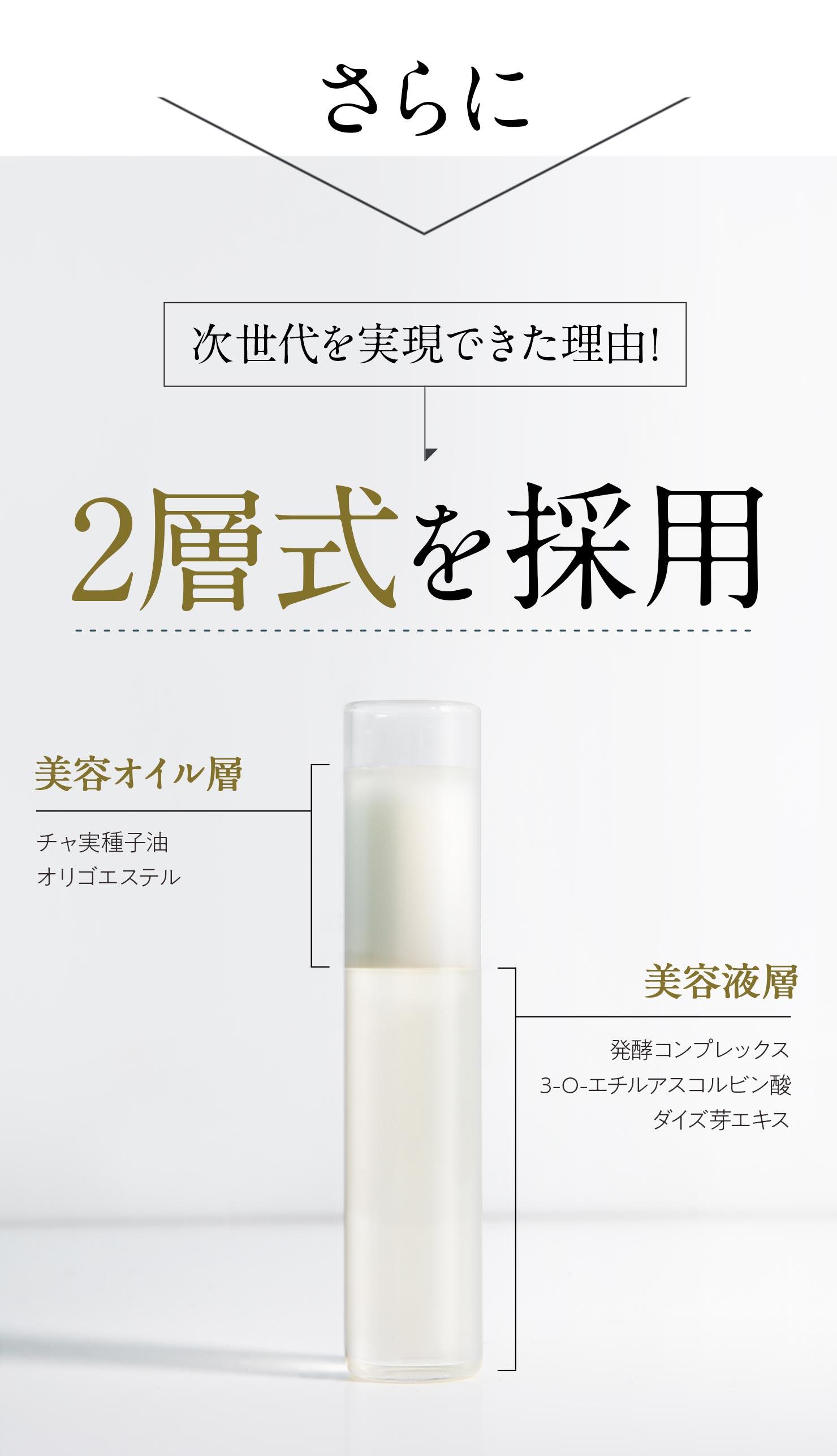 さらに【次世代を実現できた理由!】2層式を採用 [美容オイル層]チャ実種子油・オリゴエステル [美容液層]発酵コンプレックス・3-O-エチルアスコルビン酸・ダイズ芽エキス