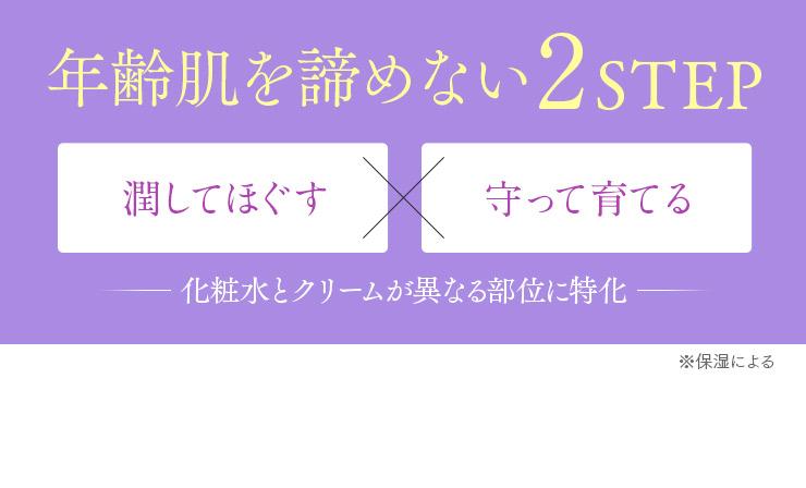 年齢肌を諦めない2STEP【潤してほぐす】×【守って育てる】- 化粧水とクリームが異なる部位に特化