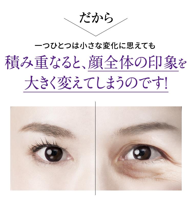 一つひとつは小さな変化に思えても、積み重なると、顔全体の印象を大きく替えてしまうのです!