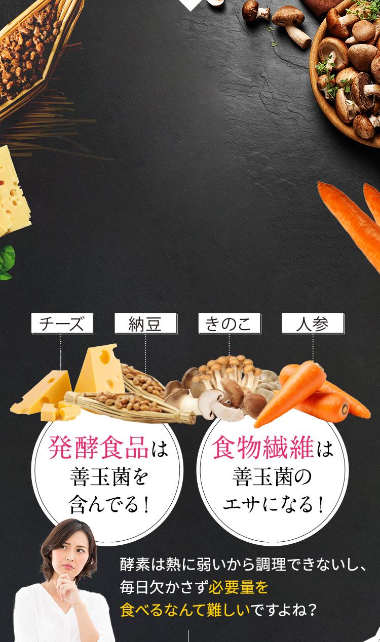発酵食品は善玉菌を含んでる! 食物繊維は善玉菌のエサになる!