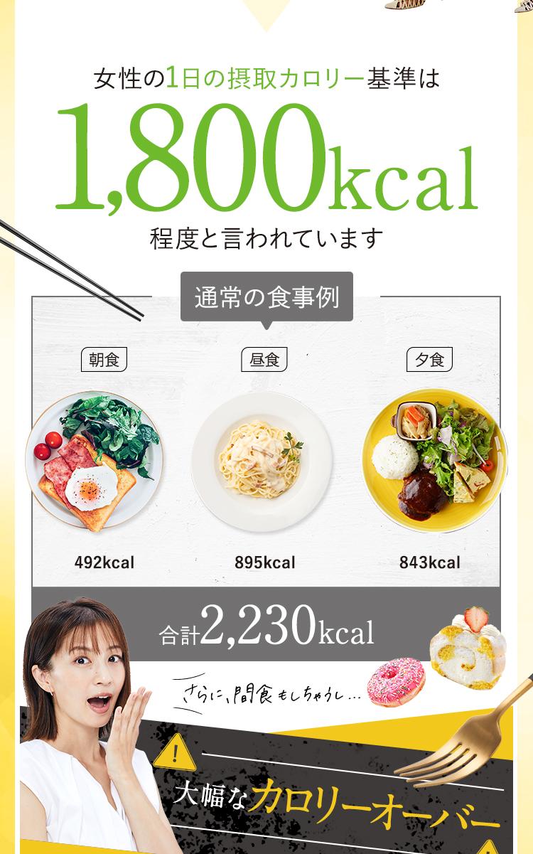 女性の1日の摂取カロリー基準は1,800kcal