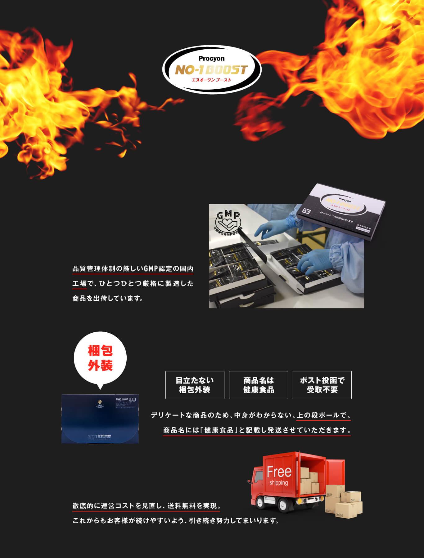 品質管理体制の厳しいGMP認定の国内工場で、ひとつひとつ厳格に製造した商品を出荷しています。