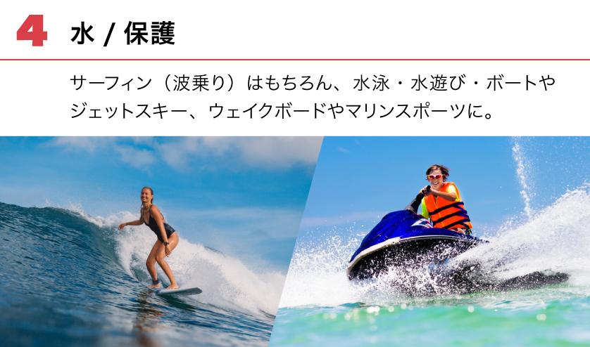(4) 水/保護。サーフィン(波乗り)はもちろん、水泳・水遊び・ボートやジェットスキー、ウェイクボードやマリンスポーツに。