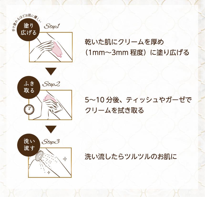 Step1 乾いた肌にクリームを厚め(1mm〜3mm程度)に塗り広げる Step2 5〜10分後、ティッシュやガーゼでクリームを拭き取る Step3 洗い流したらツルツルのお肌に