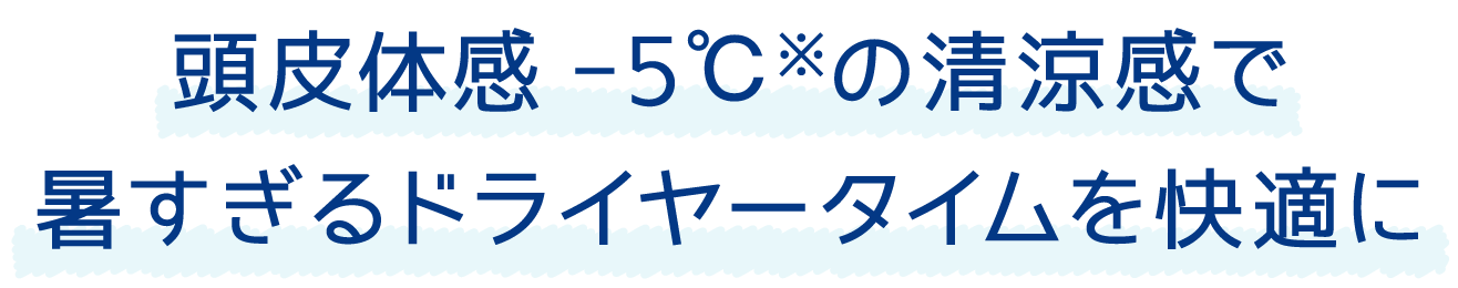 頭皮体感-5℃※の清涼感で暑すぎるドライヤータイムを快適に
