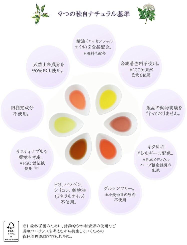 9つの独自ナチュラル基準 ①天然由来成分を96%以上使用。 ②精油(エッセンシャルオイル)を全品配合 *香料も配合 ③合成着色料不使用。*100%天然色素を使用 ④旧指定成分不使用。 ⑤PG、パラベン、シリコン、鉱物油(ミネラルオイル)不使用。 ⑥製品の動物実験を行っておりません。 ⑦サスティナブルな環境を考慮*FSC認証紙使用※1 ⑧グルテンフリー*小麦由来の原料不使用 ⑨キク科のアレルギーに配慮 *日本メディカルハーブ協会推奨の配慮 ※1 森林保護のために、画的な木材資源の使用など環境のバランスを考えながら共生していくための森林管理基準で作られた紙。
