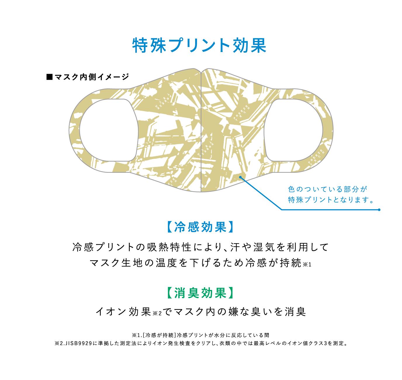 特殊プリント効果 マスク内側イメージ 色のついている部分が特殊プリントになります。 「冷感効果」 冷感プリントの吸熱特性により、汗や湿気を利用してマスク生地の温度を下げるため冷感が持続※1 「消臭効果」イオン効果※2でマスク内の嫌な臭いを消臭 ※1.[冷感が持続]冷感プリントが水分に反応している間 ※2.JISB9929に準拠した測定法によりイオン発生検査をクリアし、衣類の中では最高レベルのイオン値クラス3を測定。