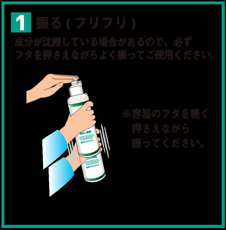 1 振る(フリフリ) 成分が沈殿している場合があるので、必ずフタを押さえながらよく振ってご使用ください。※容器のフタを軽く押さえながら振ってください。