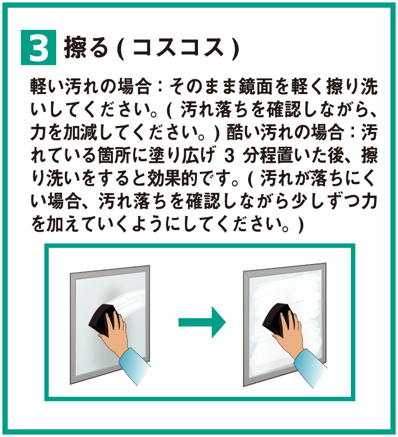 3 擦る(コスコス) 軽い汚れの場合:そのまま鏡面を軽く擦り洗いしてください。(汚れ落ちを確認しながら、力を加減してください。)酷い汚れの場合:汚れている箇所に塗り広げ3分程置いた後、擦り洗いをすると効果的です。(汚れが落ちにくい場合、汚れ落ちを確認しながら少しずつ力を加えていくようにしてください。)