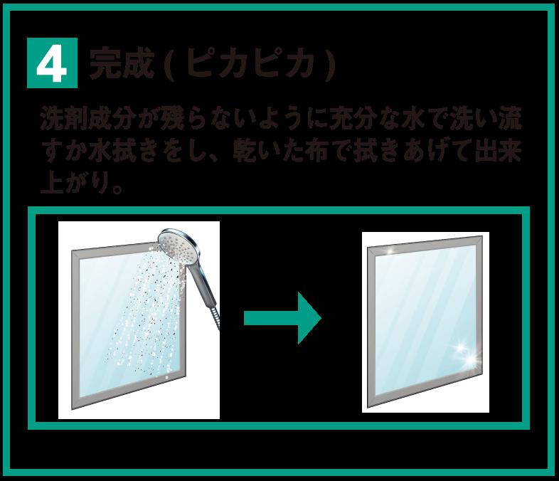 4 完成(ピカピカ) 洗剤成分が残らないように充分な水で洗い流すか水拭きをし、乾いた布で拭きあげて出来上がり。