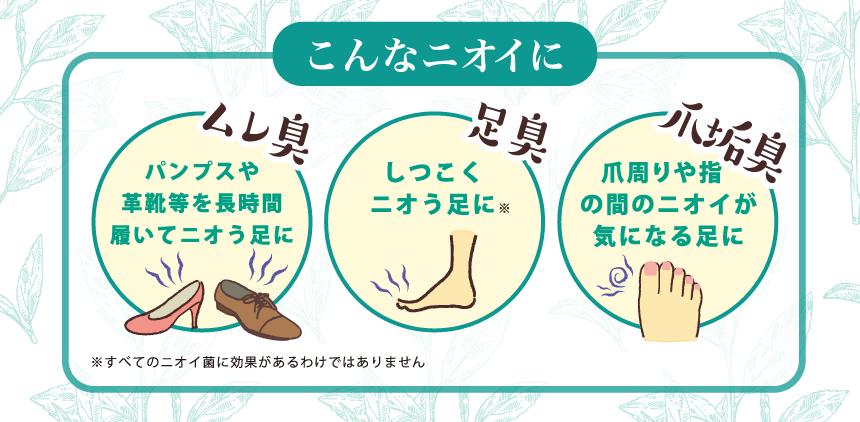 こんなニオイに ムレ臭(パンプスや革靴等を長時間履いてニオう足に)・足臭(しつこく ニオう足に※)・爪垢臭(爪周りや指の間のニオイが気になる足に) ※すべてのニオイ菌に効果があるわけではありません
