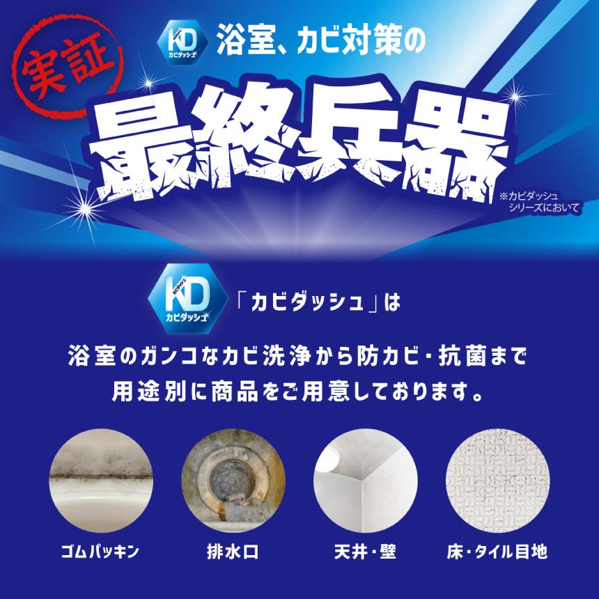 実証 カビダッシュ 浴室、カビ対策の最終兵器※カビダッシュシリーズにおいて 「カビダッシュ」は浴室のガンコなカビ洗浄から防カビ・抗菌まで用途別に商品をご用意しております。 ゴムパッキン・排水口・天井・壁・床・タイル目地