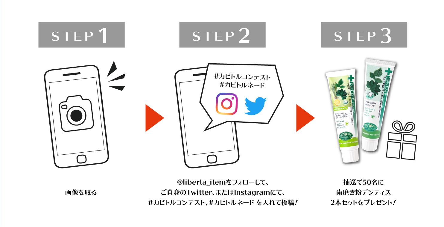 STEP1 画像を取る  STEP2 @liberta_itemをフォローして、ご自身のTwitter、またはInstagramにて、#カビトルコンテスト、#カビトルネード を入れて投稿! STEP3 抽選で50名に歯磨き粉デンティス2本セットをプレゼント!