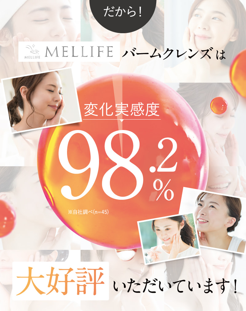 MELLIFEバームクレンズは変化実感度98.2%
