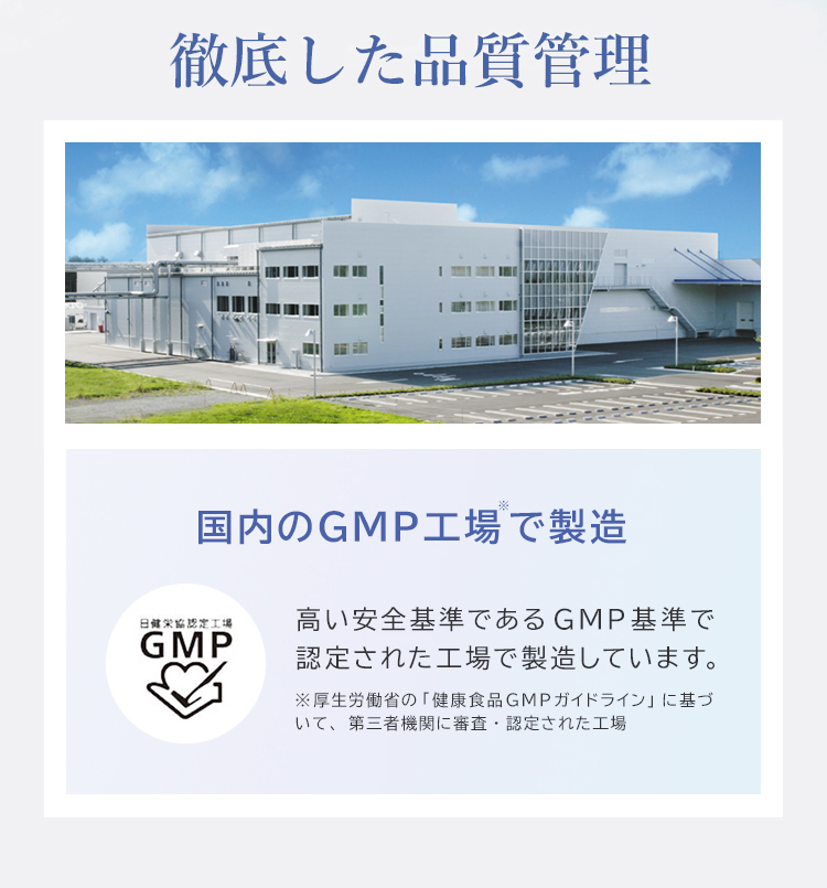 国内のGMP工場で製造 高い安全基準であるGMP基準で認定された工場で製造しています。 ※GMPとは厚生労働省が 定めた製造工程管理基準のことです。