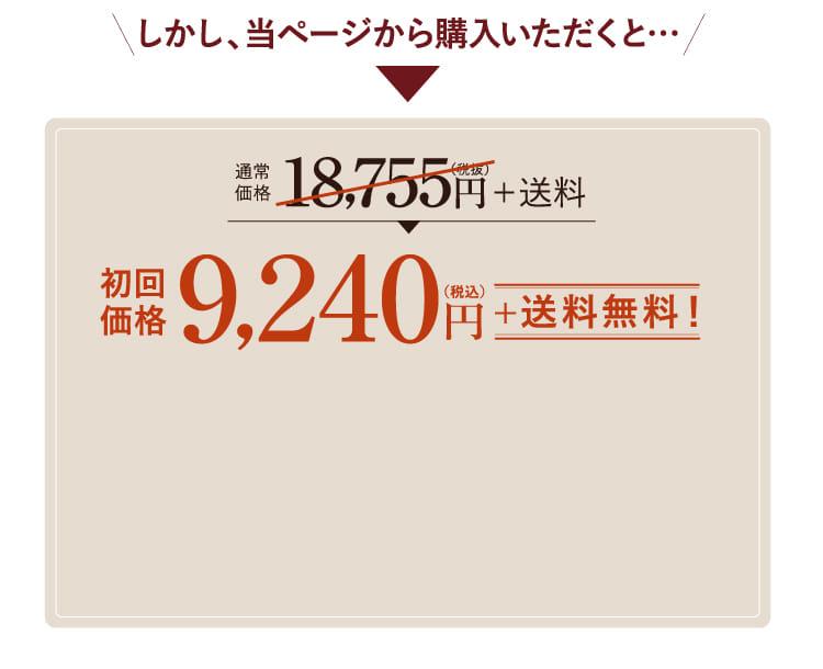 通常価格 18,755円が本ページから購入いただくと9,240円(送料無料)