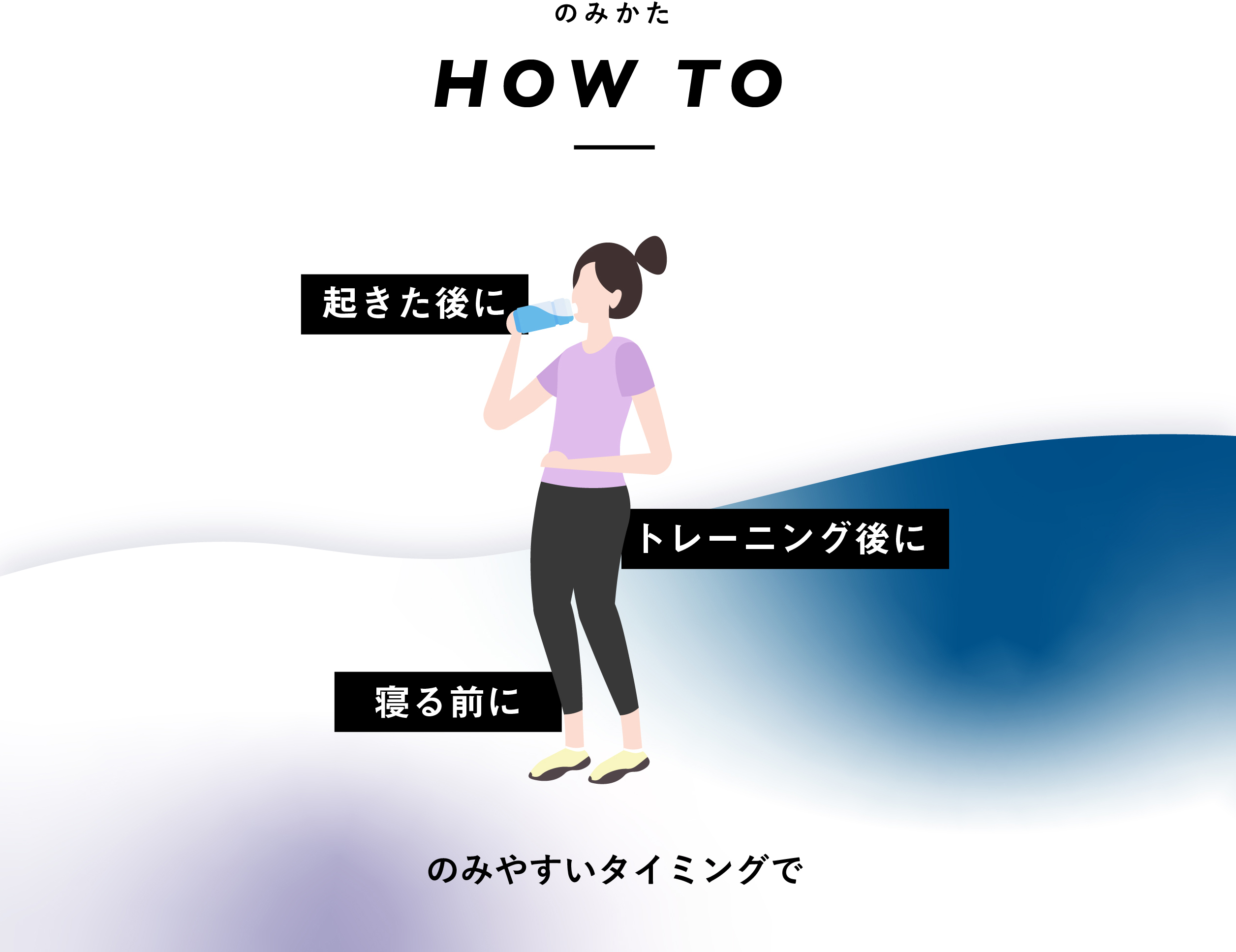 朝起きた後に、トレーニング後に、寝る前に、のみやすいタイミングで
