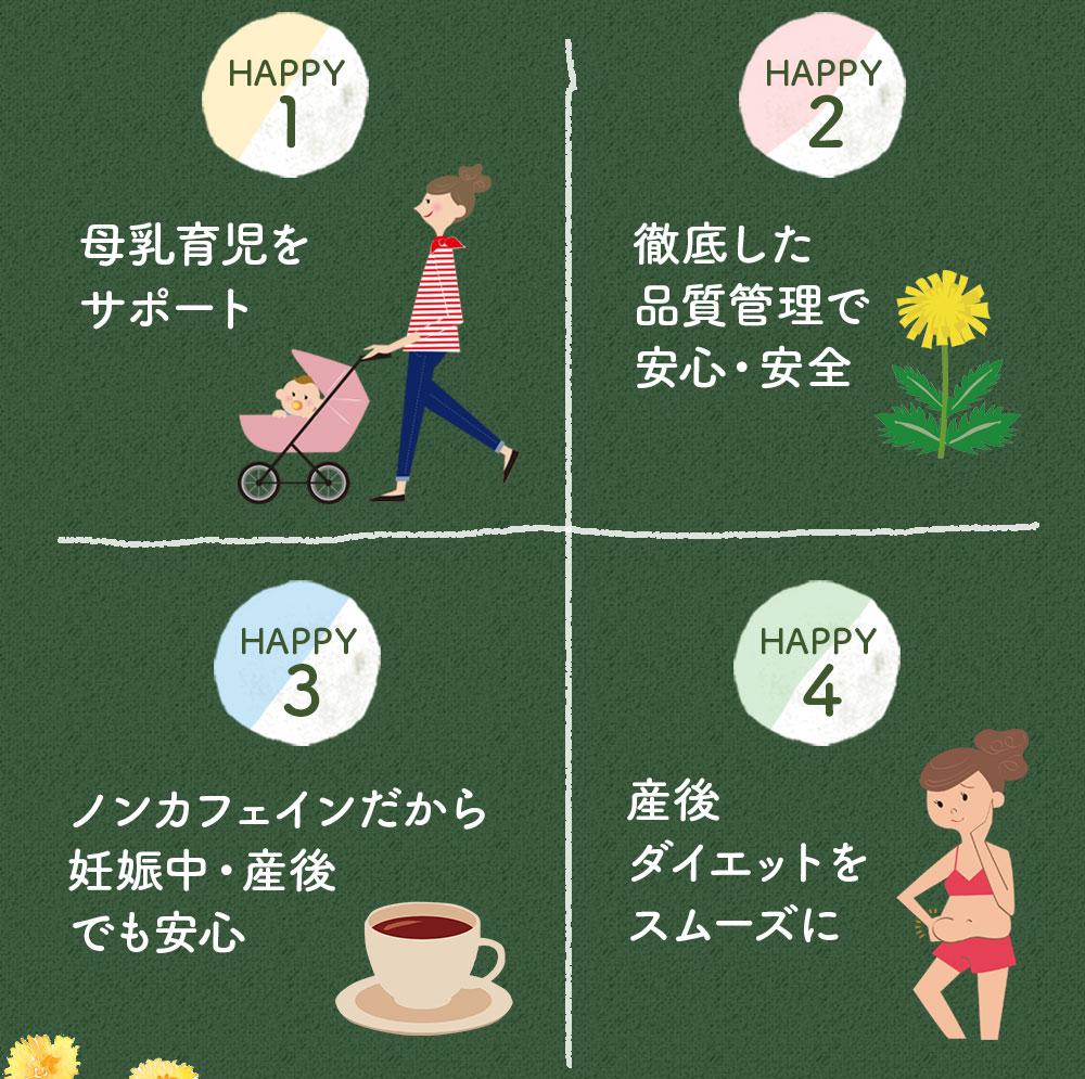 母乳育児をサポート 徹底した品質管理で安心・安全 ノンカフェインだから妊娠中・産後でも安心 産後ダイエットをスムーズに