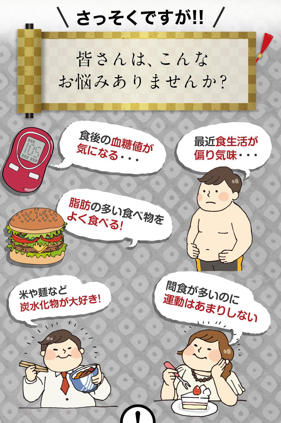 血糖値が気になる 脂肪の多い食べ物をよく食べる 食生活が偏り気味 炭水化物が大好きが 間食が多い