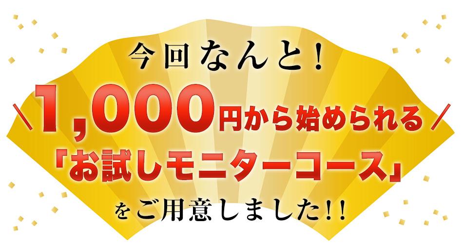 1000円から始められる「お試しモニターコース」