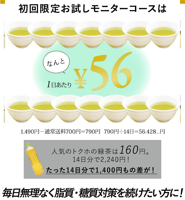 初回限定モニターコースはなんと1日当たり56円