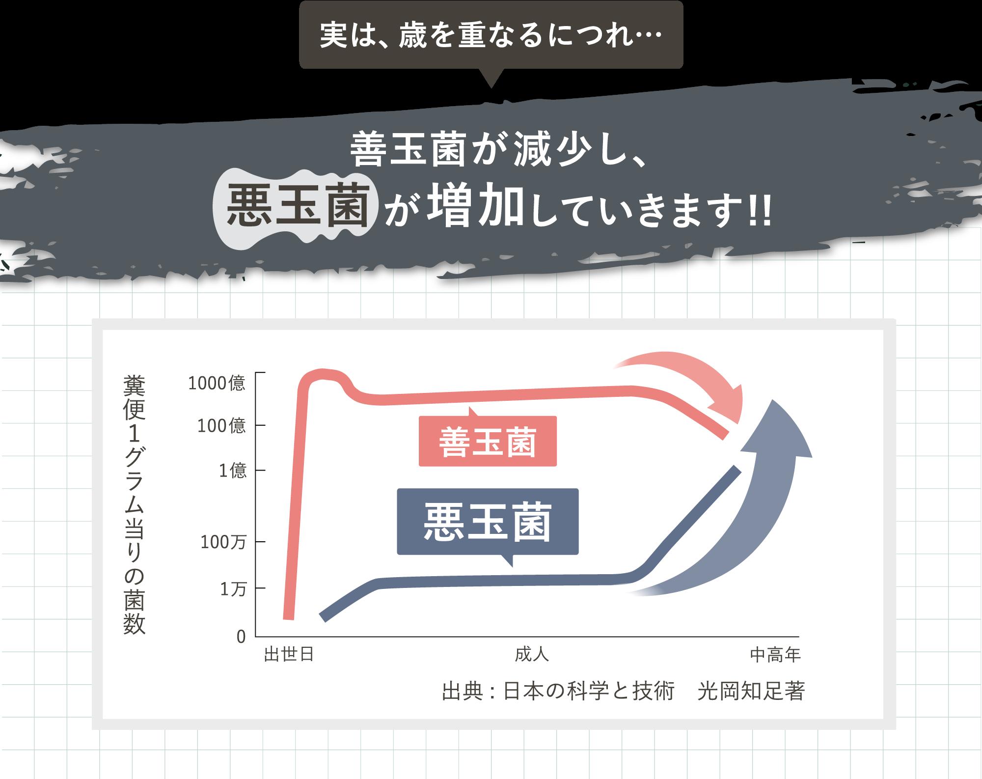 善玉菌と悪玉菌のグラフ