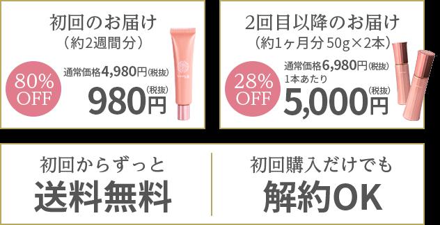 初回のお届け(約2週間分) 80%OFF 通常価格4,980円(税抜)が980円(税抜)